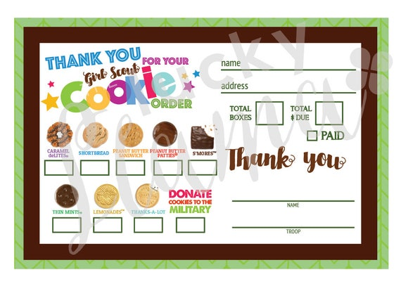 Gargantuan image for girl scout cookie order form printable