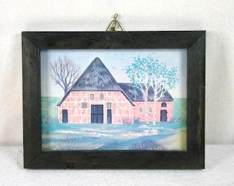 Old Dutch Farm In Wooden Frame Decorative Frame Cottage In Wooden Frame Home Decor Frame Red Farm