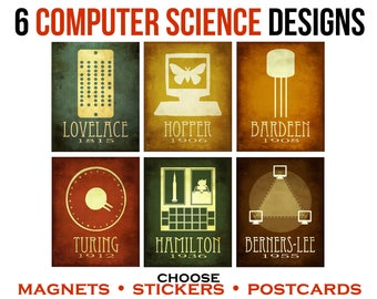 Computer Science Stickers - Postcards - Magnets. Geeky Art. Computer Scientist. Laptop Stickers. Fridge Magnets. Geeky Stationary. Geek Gift