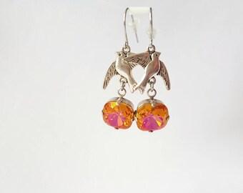 Bird Earrings, Orange Crystal Earrings, Silver Sparrow, Swarovski Dangles, Summer Jewelry, Everyday Earrings, Bird Jewelry, Flying Birds
