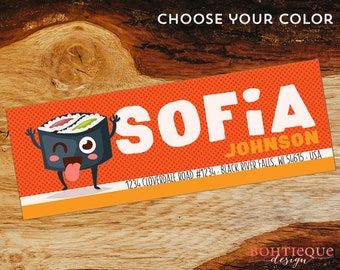 Sofia Sushi Rectangle Return Address Stickers with Color Options