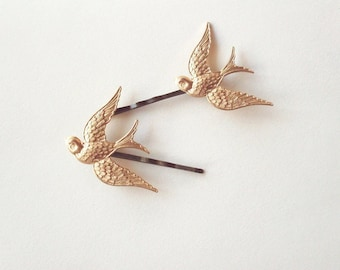 Bird Bobby Pins Gold Bridal Hair Clips Hunger Games Mockingjay Boho Bohemian Rustic Woodland Wedding Accessories Vintage Style Womens Gift