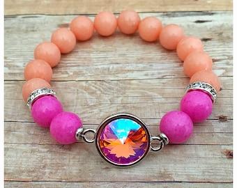 Swarovksi Crystal Bracelet, Rose Peach Crystal, Beaded Bracelets, Statement, Gemstone Bracelet, Stretch Bracelet, Coral, Pink