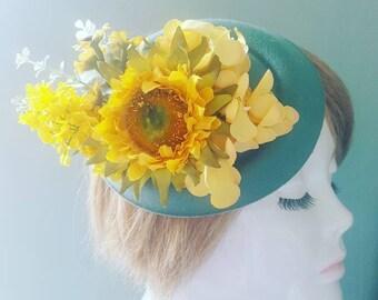Rustic Yellow Sunflower Hydrangea & Sage Green Summer Floral PillBox Hat Hair Peice Fascinator