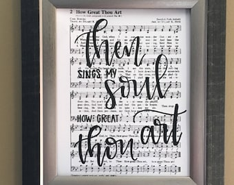 How Great Thou Art Handlettered Hymm - Then Sings My Soul