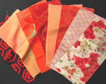 Vintage kimono silk fabrics 8 pcs #7516