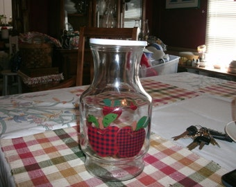 Anchor Hocking Juice Decanter with Apple Pattern