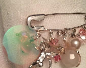 Silver Pin Cherub Charm Brooch