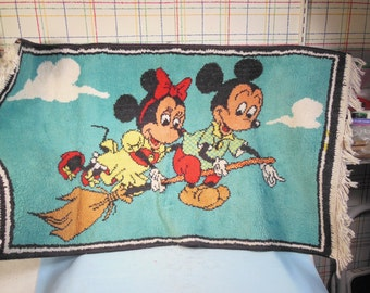 """Vintage-1930s-Mickey And Minnie Mouse Riding On A Broom-Rug-21 1/2"""" High by 37"""" long"""