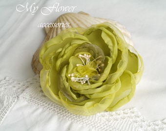 Lime green Flower brooch Corsage flower Brooch Pin Millinery flower Floral hair clip Lime punch color jewelry Gift for her Bridal hairpiece