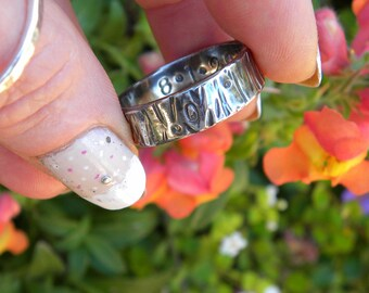 Rustic Bark Band in Sterling Silver, Textured Sterling Ring, Wedding Band R165