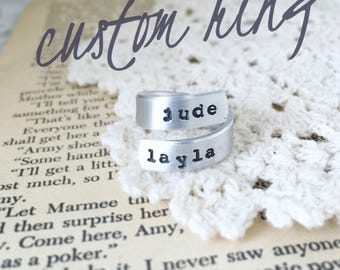 Custom hand stamped name wrap ring, customizable name jewelry, custom metal stamped ring