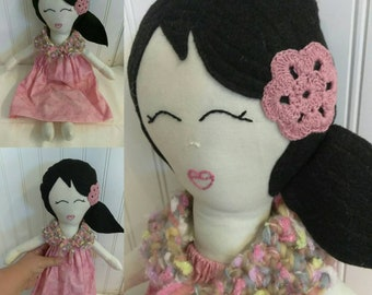 Sweet little one of a kind handmade fabric doll