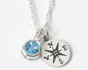 College Graduation Gifts for Daughter / Sterling Silver Compass Necklace with December Birthstone Blue Topaz