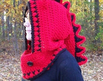Dragon Hooded Cowl--Hand Crocheted in Bulky Weight Yarn
