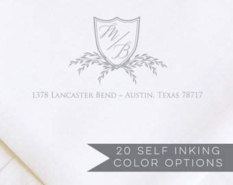 Rustic Address Stamp   Custom Monogram Address Stamp   Self Inking Address Stamp  Custom Gift Address Stamp Self-Inking