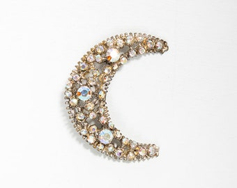 DAZZLING Vintage 1940s Iridescent Rhinestone Crescent Moon Brooch // Celestial // Sparkle // Pin