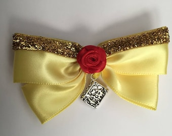 Disney Inspired Beauty and the Beast Belle Hair Bow, child's hair accessory, Fairytale, Storybook, Child's Gift