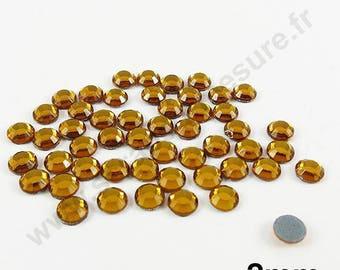 Rhinestone Thermo - dark gold - 2mm - x 200pcs
