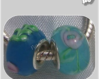 2 CHARMS DONUT RONDELLE GLASS BLUE BEADS * D254