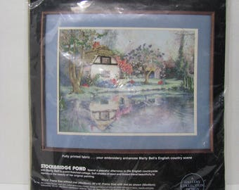 Crewel Kit for English Pond Scene. Replica of painting by Marty Bell.  New in Bag
