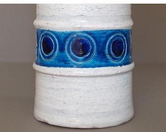 Vintage Raymor Bitossi Rimini Blue and White Cylinder Lamp