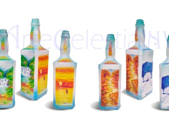 Four Seasons hand painted bottle