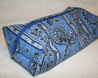makeup and cosmetic travel bag, blue paisley.
