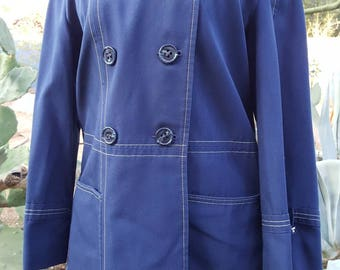 Cute Lil' Blue Cotton Duck Forecaster of Boston Rain Coat / Hipster / Mod / Coat Size S / M
