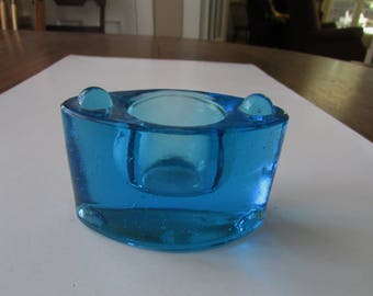 Vintage Blue Glass Ink Well  Dip Pen Art Glass Inkwell