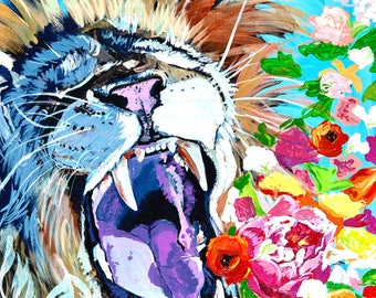 Lion, Roaring, Flowers, Colorful print, Aqua and Pink, Girls Room Decor, 11x14, Willow Branch Studio