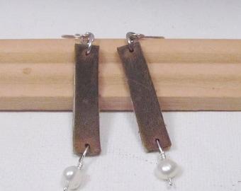 Leather Earrings Pearl Earrings Sterling Silver Earwires