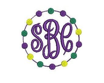 Mardi Gras Beads Frame for Monogram Design File for Embroidery Machine Monogram Applique Mardi Gras