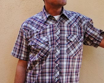Vintage 1980' Western Plaid Shirt with Pearl Snap Buttons