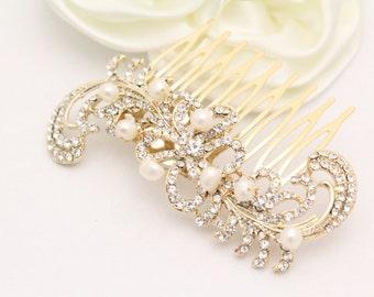 Gold Wedding comb Gold Bridal hair accessory Gold Wedding hair piece Gold Bridal hair piece Gold Bridal hair comb Wedding hair comb Pearl