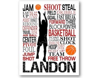 Boy's Basketball Typography Poster, Basketball Gift, Basketball Art Print, Basketball Team Gift, Basketball Coach Gift, Basketball Canvas