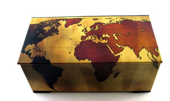 Decorative box vintage world map watch box tea chest decorative box vintage world map watch box tea chest playing card box home decor treasue chest memory box made to order gumiabroncs Image collections