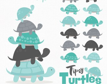 Professional Turtle Stack Clipart in Aqua & Pewter - Turtle Clipart, Turtle Vectors, Aqua and Pewter Turtles