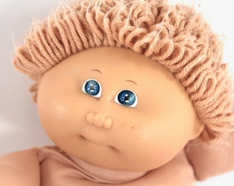 1984 vintage Cabbage Patch Kid boy - wheat-haired, yarn loops, blue eyes, blond, CPK, 1980s toys, dolls