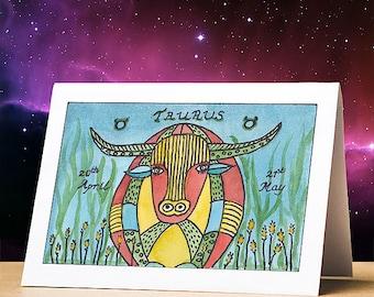 Taurus birthday card, taurus star sign zodiac astrology birthday card, taurus stationery gift star sign zodiac card for birthdays