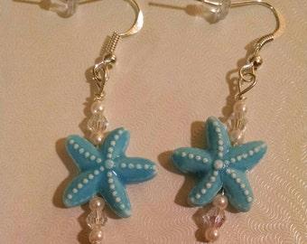 Blue Star Fish Earrings Item No. 137