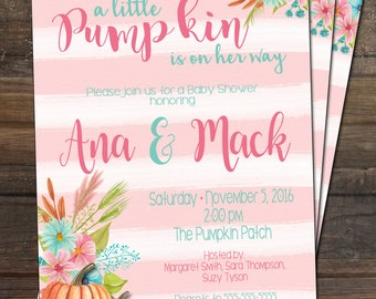 Fall Baby Shower Invitation Little Pumpkin Girl Baby Shower Invitation Fall Baby Girl Shower Invitation