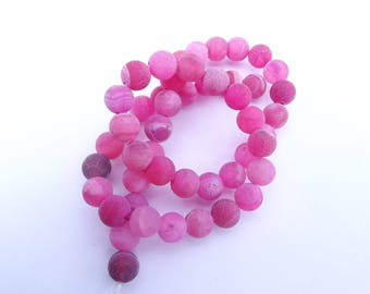 49 smooth frosted agate round beads Pink 8 mm KOSI 626