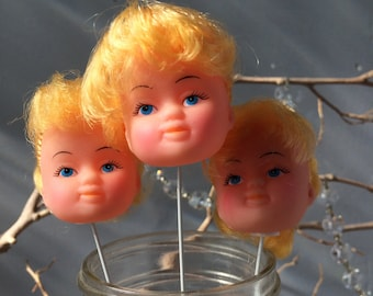 VINTAGE DOLL...3 doll heads on sticks ~ creepy halloween ~ cake party decor ~ display blonde girl retro fun funky toys ~ craft supplies