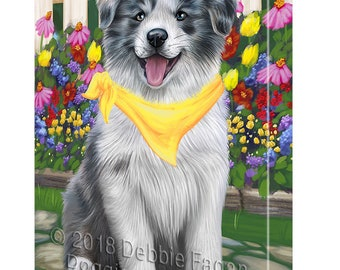 Spring Floral Border Collie Dog Canvas Wall Art