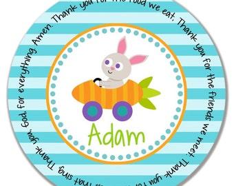 Godchild easter gift etsy personalized kids plate godchild easter gift melamine name plate easter bunny plate negle Choice Image