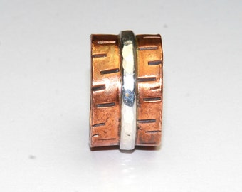 Mixed Metal Ring -  Copper and Sterling Silver Ring -  Size 7 Ring - Metalwork