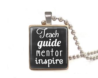 Teacher Necklace, Teach Guide Mentor Inspire, Teacher's Appreciation Gift, Gift for Teacher, Teacher Jewelry, Black Necklace, Daycare Gift