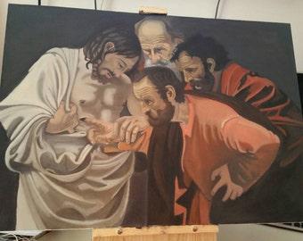 50 x 70 cm copy Caravaggio-disbelief of Saint Thomas