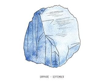 September sapphire birthstone print